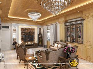 Nội thất phòng khách Tân cổ điển chị Mai Quảng Ninh