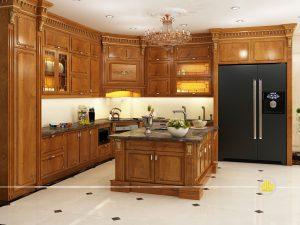 Tủ bếp gỗ gõ anh Hoạt Võ Chí Công
