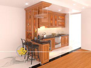 Tủ bếp gỗ gõ anh Huynh
