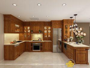 Tủ bếp gỗ gõ anh Khánh Tân Hoàng Minh