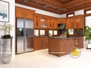 Tủ bếp gỗ gõ anh Trưởng Hưng Yên