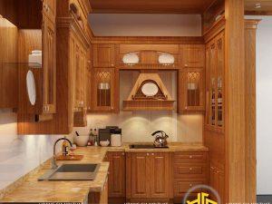 Tủ bếp gỗ gõ anh Tú Trường Trinh