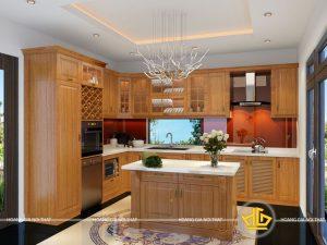 Tủ bếp gỗ gõ bác Thắng Tân Mai