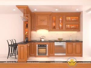 Tủ bếp gỗ gõ bác Thìn Định Công