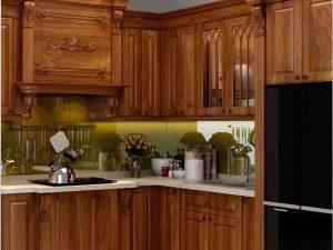 Tủ bếp gỗ gõ chị Hà Hoàng Cầu