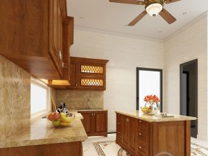 Tủ bếp gỗ gõ chú Minh biệt thự Gamuda
