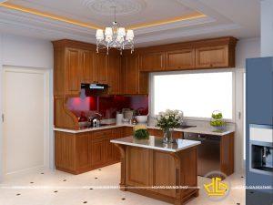 Tủ bếp gỗ gõ cô Liên Tây Sơn