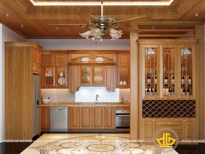Tủ bếp gỗ gõ cô Sơn Linh Đàm