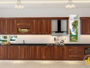Tủ bếp gỗ lát anh Hà Nguyễn Trãi