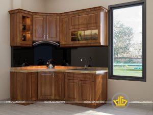 Tủ bếp gỗ lát anh Lương Thanh Trì