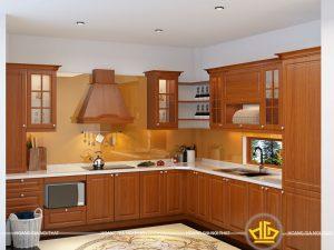 Tủ bếp gỗ lát anh Quyết VinHome