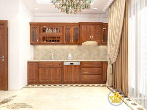 Tủ bếp gỗ lát anh Quyết Xuân Thủy