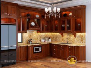Tủ bếp gỗ lát anh Tuấn Vinhome