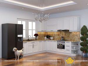 Tủ bếp gỗ lát Châu Phi sơn trắng anh Hàng Lược