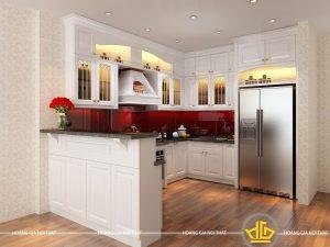 Tủ bếp gỗ lát Châu Phi sơn trắng anh Bảo Hoàng Quốc Việt