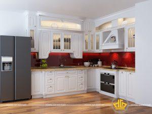 Tủ bếp gỗ lát Châu Phi sơn trắng anh Hoàng Hà Tĩnh
