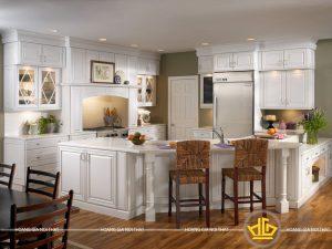 Tủ bếp gỗ lát Châu Phi sơn trắng anh Hưng