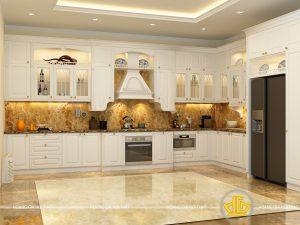 Tủ bếp gỗ lát Châu Phi sơn trắng anh Huy