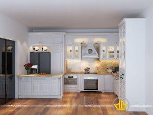 Tủ bếp gỗ lát Châu Phi sơn trắng anh Huy Vĩnh Long
