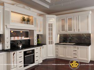 Tủ bếp gỗ lát Châu Phi sơn trắng anh Thanh Hải Dương