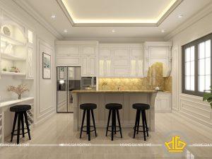 Tủ bếp gỗ lát Châu Phi sơn trắng anh Thuyền Lạng Sơn