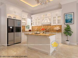 Tủ bếp gỗ lát Châu Phi sơn trắng anh Toàn Vinhome Long Biên
