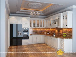 Tủ bếp gỗ lát Châu Phi sơn trắng anh Vân Mễ Trì