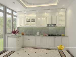 Tủ bếp gỗ lát Châu Phi sơn trắng chị Hạn Mỹ Đình