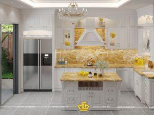 Tủ bếp gỗ lát Châu Phi sơn trắng chị Hòa Trương Định