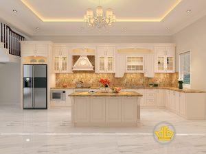 Tủ bếp gỗ lát Châu Phi sơn trắng chị Oanh Đồng Nai