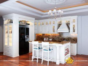 Tủ bếp gỗ lát Châu Phi sơn trắng chị Phương