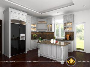 Tủ bếp gỗ lát Châu Phi sơn trắng chị Phương Tây Hồ