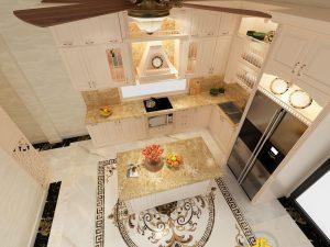 Tủ bếp gỗ lát Châu Phi sơn trắng chú Minh Gamuda