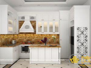 Tủ bếp gỗ lát Châu Phi sơn trắng chú Oai