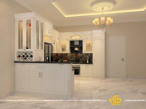 Tủ bếp gỗ lát Châu Phi sơn trắng chú Quý
