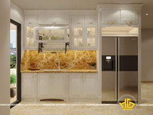 Tủ bếp gỗ lát Châu Phi sơn trắng cô Hoa Nguyễn Tuân