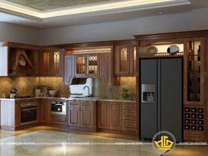 Tủ bếp gỗ lát chị Huệ Minh Khai