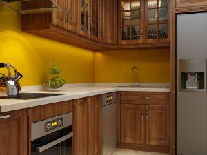 Tủ bếp gỗ lát chị Lan Anh Trương Định
