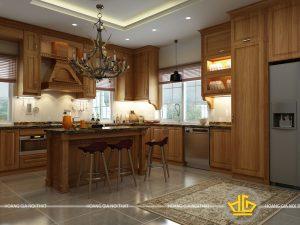 Tủ bếp gỗ lát cô Hương Đại Kim