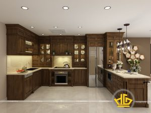 Tủ bếp gỗ óc chó chị Hương Tân Hoàng Minh
