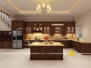 Tủ bếp gỗ óc chó chị Oanh Đồng Nai