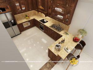 Tủ bếp gỗ óc chó chị Xuyến Nguyễn Khoái