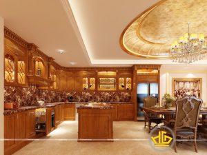 Tủ bếp tân cổ điển anh Hùng khu biệt thự Tây Hồ