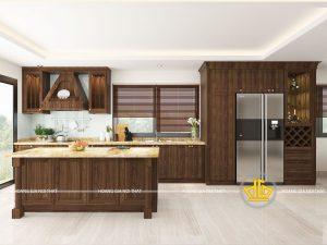 Tủ bếp tân cổ điển chị Thư Hà Nam