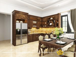 Tủ bếp tân cổ điển chị Trang Hoàng Văn Thái