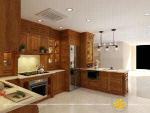 Tủ bếp tân cổ điển cô Hương Tân Hoàng Minh