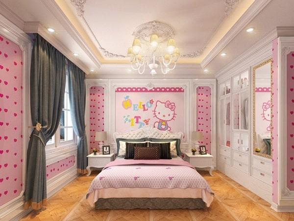 Nội thất phòng ngủ tân cổ điển gam màu hồng cho bé gái