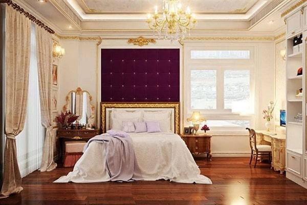 Phòng ngủ tân cổ điển tone màu trầm ấm