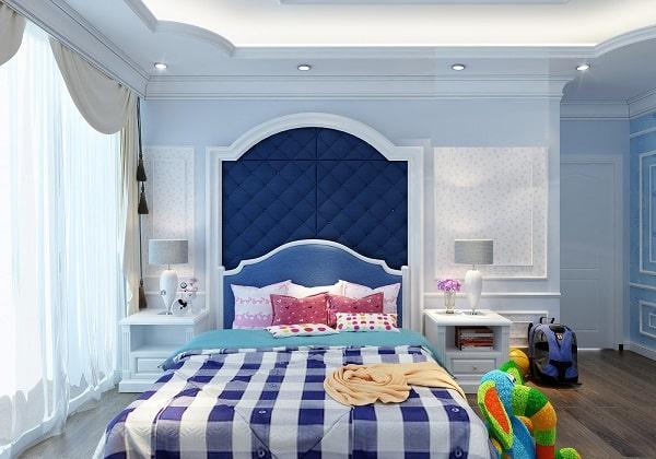 Phòng ngủ tân cổ điển màu xanh cho bé