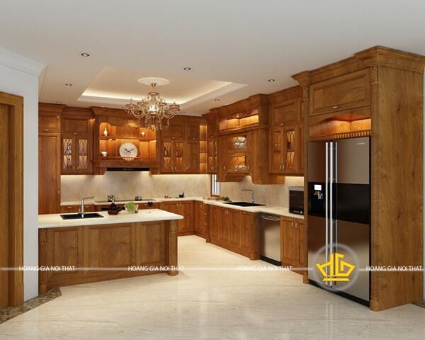 Tủ bếp tân cổ điển tích hợp đầy đủ tiện nghi